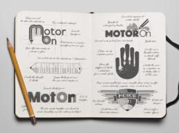 Motor On logo designs drawn in sketch book