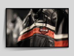 Framed photograph of Harley Davidson leather jacket with bokeh effect