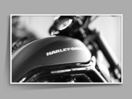 Framed photograph of Harley Davidson motor bike fuel tank with bokeh effect in black and white