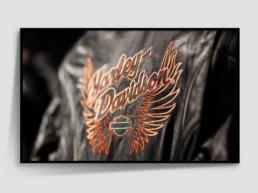 Framed photograph Harley Davidson leather jacket with logo
