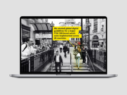Video design for Aviva with a man walking down stairs to the tube
