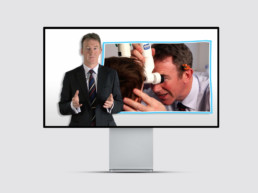 Instructional video with man explaining how Squint Clinic treatment works with doctor examining a child