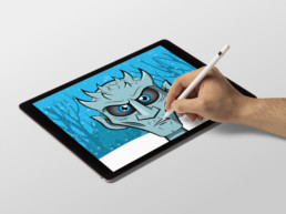 Illustrator drawing of Game of Thrones character The Night King with Apple Pencil on iPad